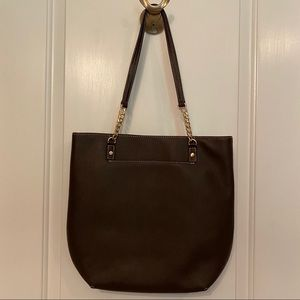 MICHAEL KORS TOTE NEW BROWN LEATHER JET SET CHAIN
